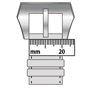 Measure the watch strap size on the buckle site