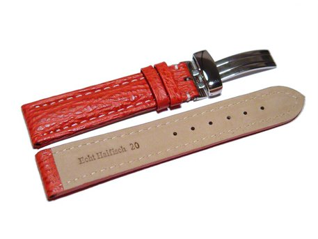 Watch strap - Genuine Shark leather - padded - red
