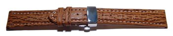 Butterfly - Watch strap - Genuine Shark - padded - brown