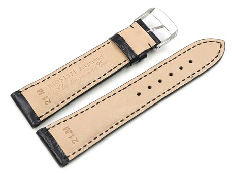 Black watch strap - RIOS - Crocodile Grain - art manuel - 17,19,21,23 mm