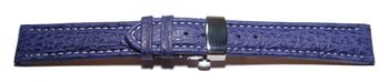 Butterfly - Watch strap - Genuine Shark - padded - dark blue