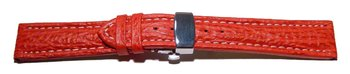 Butterfly - Watch strap - Genuine Shark - padded - red