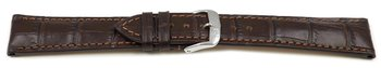 Dark brown watch strap - RIOS - Crocodile Grain - art...