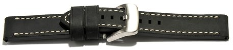 Watch strap - extra strong - genuine leather - black