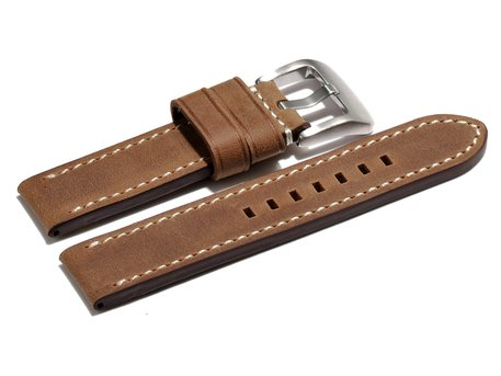 Watch strap - extra strong - genuine leather - light brown