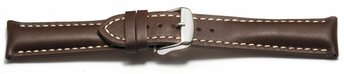 Watch strap - strong padded - smooth - brown 20mm Steel