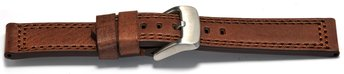 Watch strap - Genuine leather - dark brown - double...