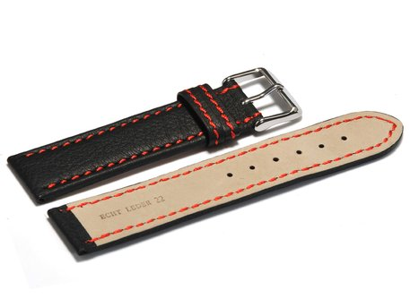 Watch strap - genuine leather - black - red stitching - 18,20,22,24 mm
