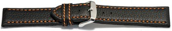 Watch strap - genuine leather - black - orange stitching...