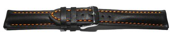 Watch strap - strong padded - smooth - black with orange...