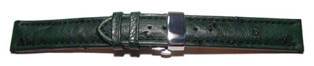 Butterfly - Watch strap - Genuine Ostrich - padded - dark green