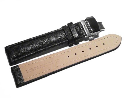 Butterfly - Watch strap - Genuine Ostrich - padded - black