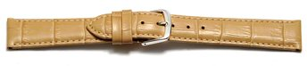 Watch Strap - Sand Coloured Croc Grained Genuine Leather
