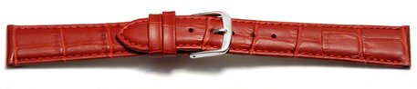 Watch Strap - Red Coloured Croc Grained Genuine Leather