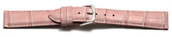 Watch Strap - Pink Coloured Croc Grained Genuine Leather