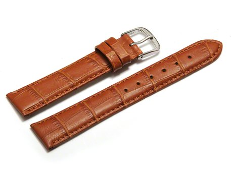 Watch Strap - Light Brown Coloured Croc Grained Genuine Leather
