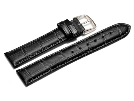 Watch Strap - Black Coloured Croc Grained Genuine Leather