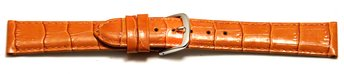 Watch Strap - Shiny Orange Coloured Croc Grained Leather