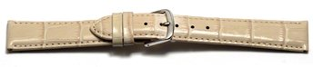 Watch Strap - Shiny Creme Coloured Croc Grained Leather