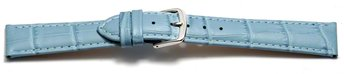 Watch Strap - Light Blue Coloured Croc Grained Leather