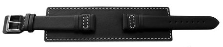 Watch band - Genuine leather - with full Pad - black - white stitch
