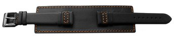 Watch band - Genuine leather - with full Pad - black -...