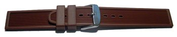 Watch strap - Silicone - Stripes - Waterproof - brown
