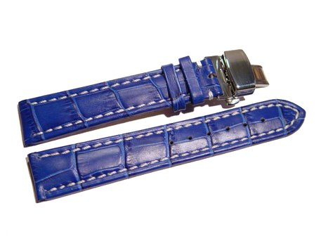 Butterfly - Watch strap - Genuine leather - croco print - blue