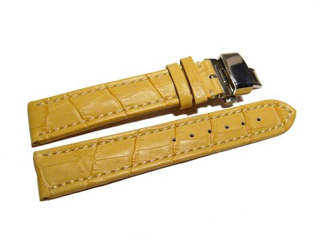 Butterfly - Watch strap - Genuine leather - croco print - yellow