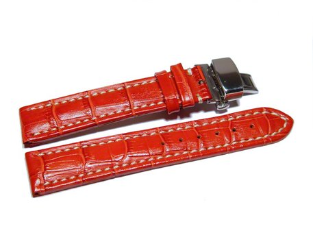 Butterfly - Watch strap - Genuine leather - croco print - red