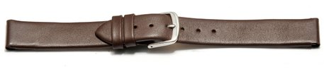 Watch strap - genuine leather - for fixed pins - brown