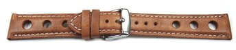 Watch strap - smooth - three holes - light brown 22mm Steel