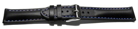 Watch strap - strong padded - smooth - black with blue stitch