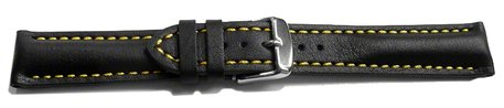 Watch strap - strong padded - smooth - black with yellow stitch