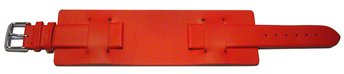 Watch strap - Genuine leather - with Pad (Underlay) - red