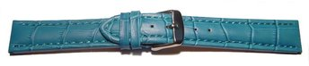 Watch strap - Genuine leather - Croco print - turquoise...