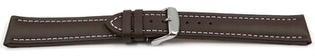 Watch strap - Genuine leather - Smooth - XXL - brown 24mm...