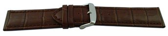 Watch strap - genuine leather - croco print - dark brown...