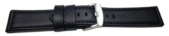 Watch strap - genuine leather - smooth - black