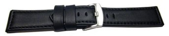 Watch strap - genuine leather - smooth - black 22mm