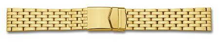 Metal watch band - Stainless steel - polished - Gold plated - 18,20 mm