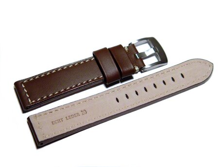 Watch strap - Genuine saddle leather - dark brown white stitching 24mm