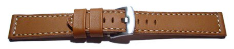 Watch strap - Genuine saddle leather - light brown white stitching 18mm