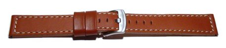 Watch strap - Genuine saddle leather - red-brown white stitching
