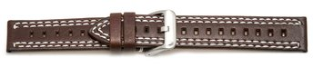 Watch strap - Genuine leather - brown - double stitching...