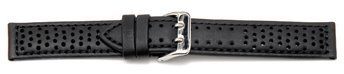 Watch strap - Genuine leather - black - black stitching