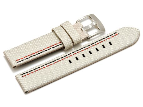 Watch band - HighTech - textile look - white - red and black stitching