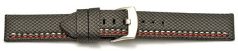 Watch band - HighTech - textile look - grey - red and...