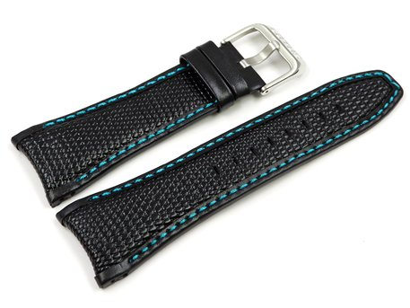 Black leather Lotus replacement strap for 15744/6, 15744 with blue stitching