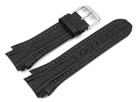Black Leather Watch Band Lotus for 15759
